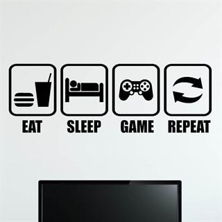 EAT-SLEEP-GAME-REPEAT - wallstickers