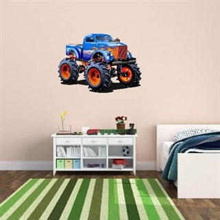 Wallsticker med en blå Monstertruck med flammer