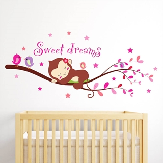 "Sovende ape med teksten ""Sweet dreams"""