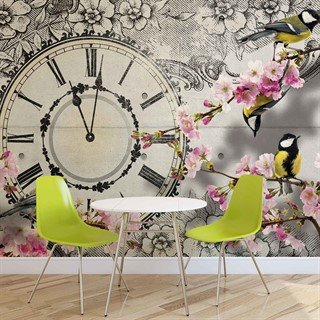 Fototapet-birds-flowers-clock-vintage-veggmaleri-1793wm-animals-fauna