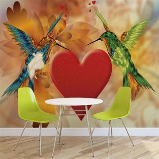 Fototapet-birds-hummingbird-heart-flowers-veggmaleri-555wm-animals-fauna