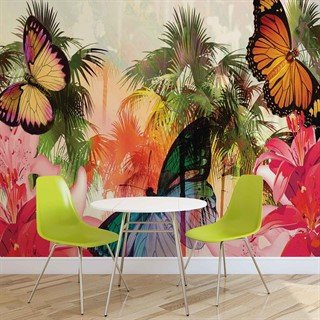 Fototapet-butterflies-palms-flowers-lilies-colours-veggmaleri-405wm-animals-fauna