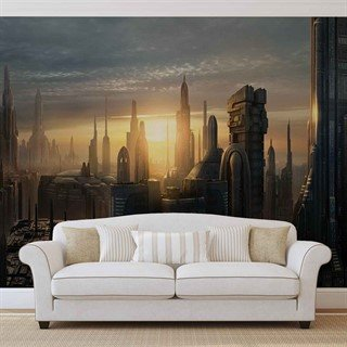 Fototapet-star-wars-city-coruscant-veggmaleri-1694wm-star-wars