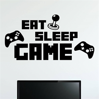 Wallstickers med teksten eat, sleep, game design1