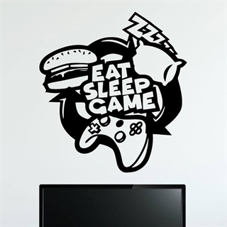 Wallstickers med teksten eat, sleep, game design2