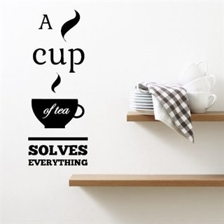 "Wallsticker med teksten ""a cup of tea"""