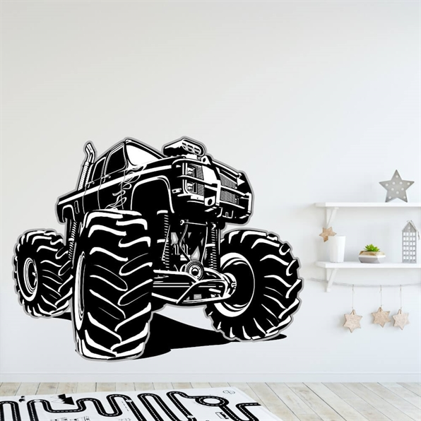 Monstertruck i svart-hvitt Wallsticker