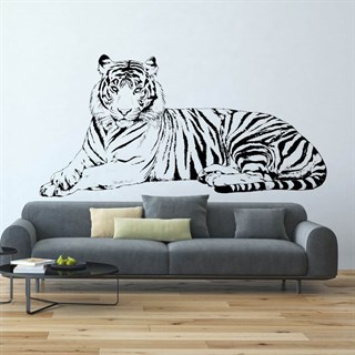 Liggende stripete tiger som wallstickers