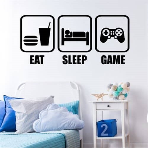 Wallsticker med teksten Eat, sleep, game