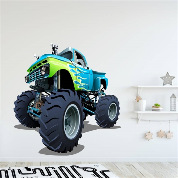 Wallsticker med en blå monstertruck med grønne striper
