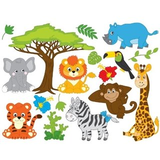 Wallstickers - Ark med Safari dyr - wallstickers