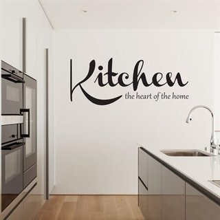 Wallstickers med tekst: Kitchen - the heart of the home.