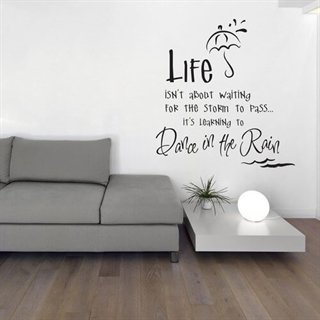 Wallsticker med tekst - Dance in the rain