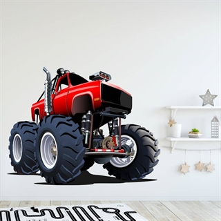 Wallsticker med en rød monstertruck