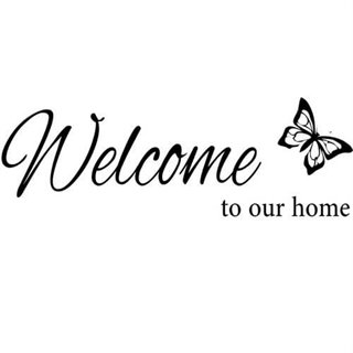 Wallstickers tekst: Welcome to our home, sommerfugl