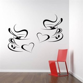 Wallstickers - Flotte Kaffekopper