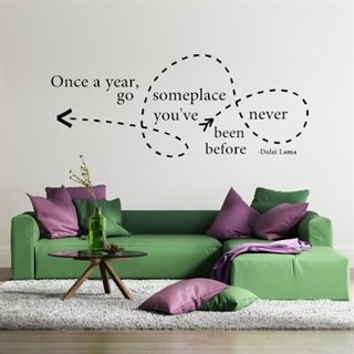 "Wallsticker med teksten ""Once a year, go someplace..."""