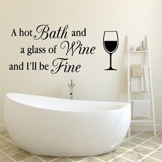 Wallsticker - Bath and a glass of wine - wallstickers