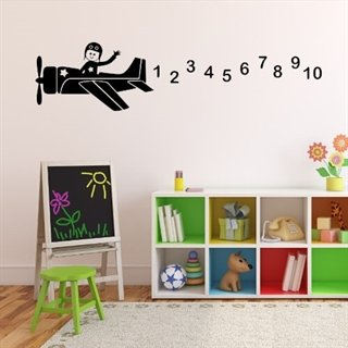 Wallsticker til barnerommet med fly og tall
