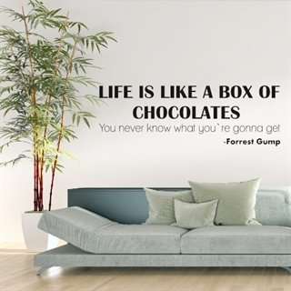 Wallsticker med sitat fra Forrest Gump – Life is like a box of chocolates