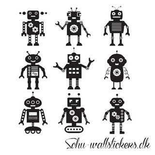 Wallstickers - 9 roboter