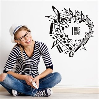 "Superkult wallsticker med teksten ""I love music"" og noter"