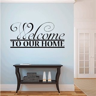 Wallsticker med tekst - Welcome to our home